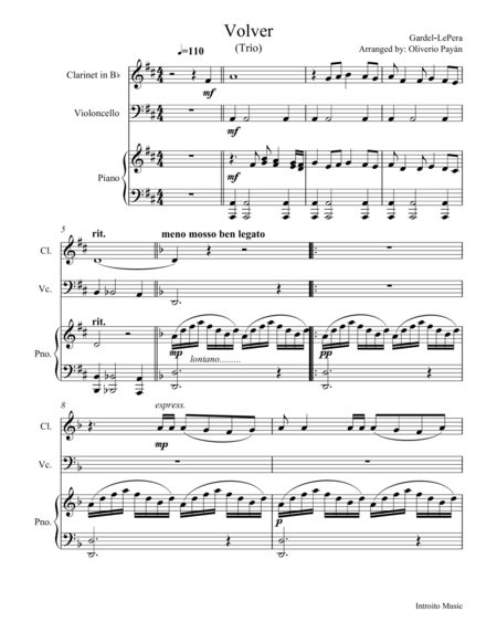 Tango Volver for Clarinet,Violoncello and Piano