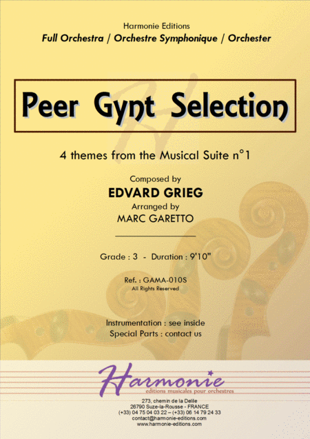 PEER GYNT SELECTIONS for Full Orchestra - Edvard Grieg - Arr. Marc Garetto