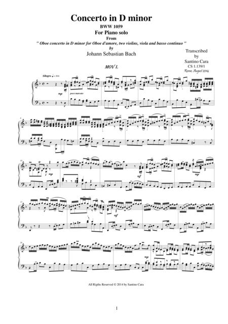 J.S.Bach - Oboe concerto in D minor BWV1059 - Complete piano version