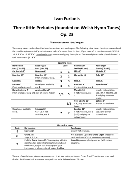 Three little Preludes (founded on Welsh Hymn Tunes) Op. 23
