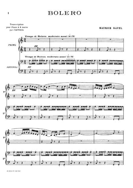 Ravel Bolero, for piano duet(1 piano, 4 hands), PR801