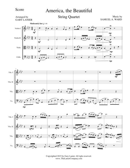 AMERICA, THE BEAUTIFUL (String Quartet/Score and Parts)