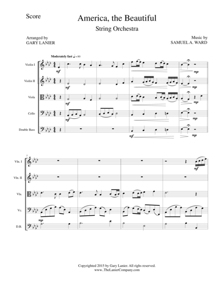 AMERICA,THE BEAUTIFUL (String Orchestra/Score and Parts)