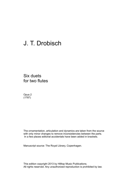 Drobisch Six Duets for Two Flutes Op. 2
