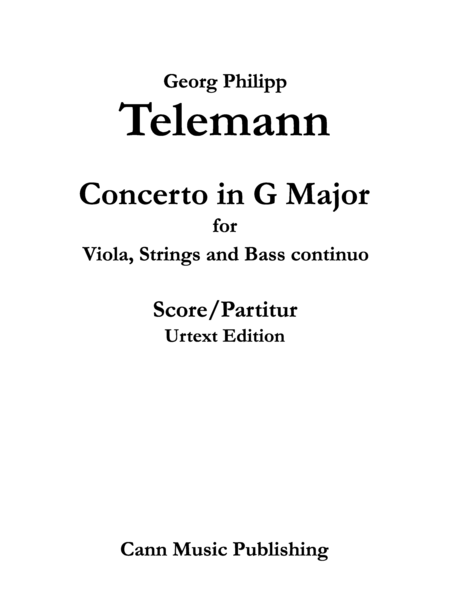 Georg Philipp Telemann: Viola Concerto in G Major - Urtext Score