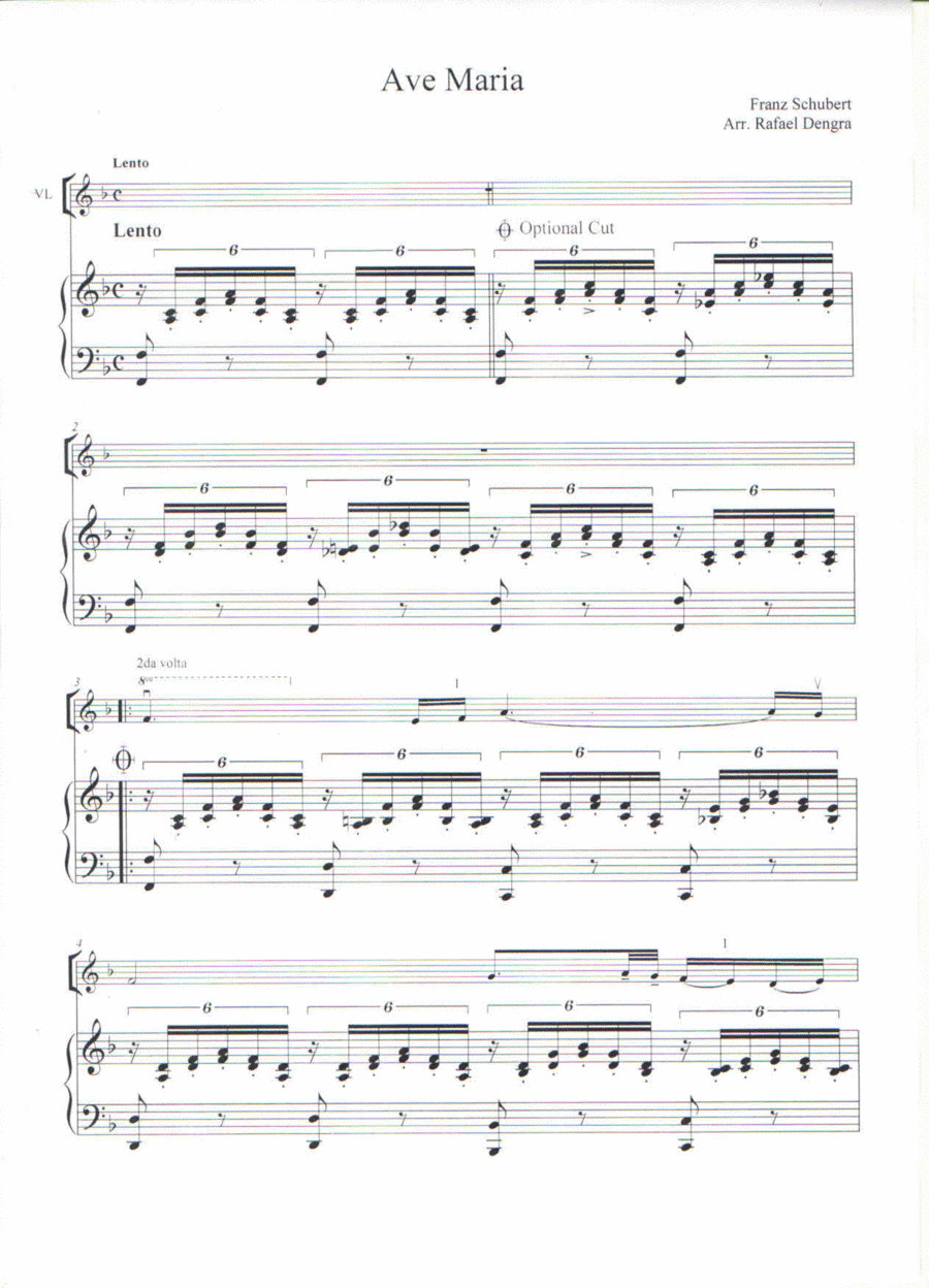 Ave Maria  - Arranged by Rafael Dengra - Violin&Piano Score