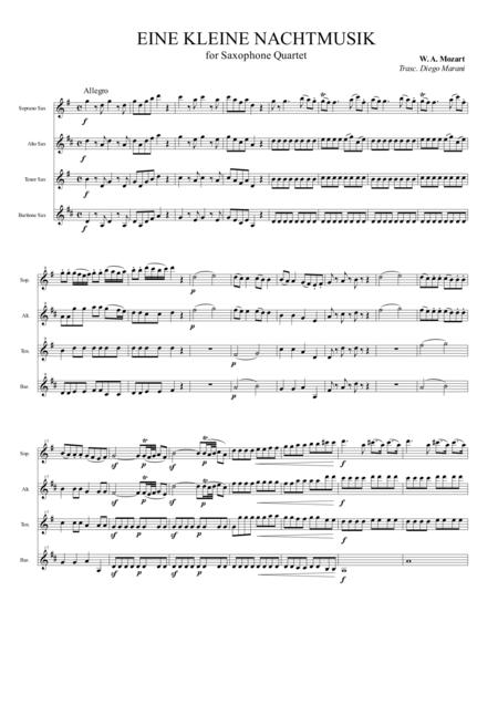 Eine Kleine Nachtmusik for Saxophone Quartet (SATB)