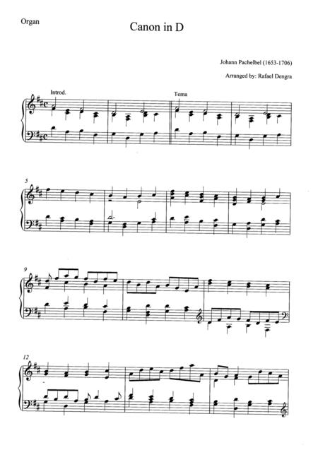 Pachelbel - Canon in D - Arranged by Rafael Dengra - Organ Part