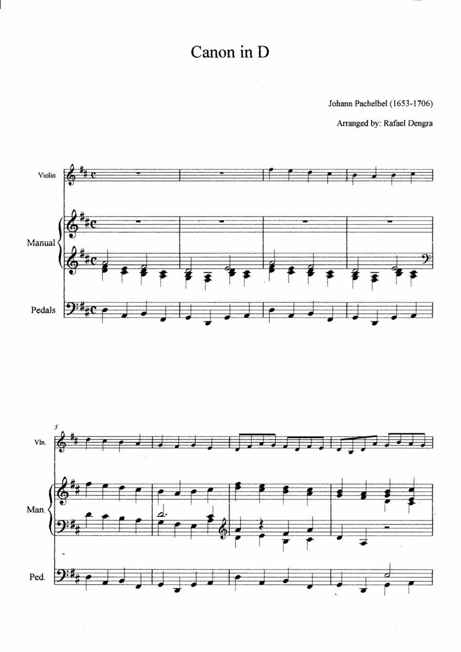 Pachelbel - Canon in D - Arranged by Rafael Dengra - Violin&Organ Manual Full Score
