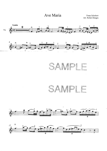 Ave Maria  - Arranged by Rafael Dengra - Violin Part