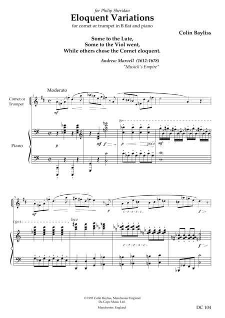 Eloquent Variations - for trumpet (or cornet) and piano