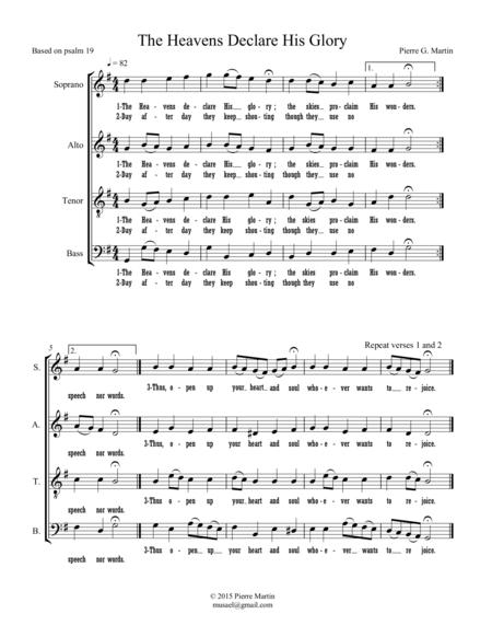 The Heavens Declare His Glory (mixed choir)