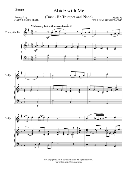 ABIDE WITH ME (Duet – Bb Trumpet and Piano/Score and Parts)
