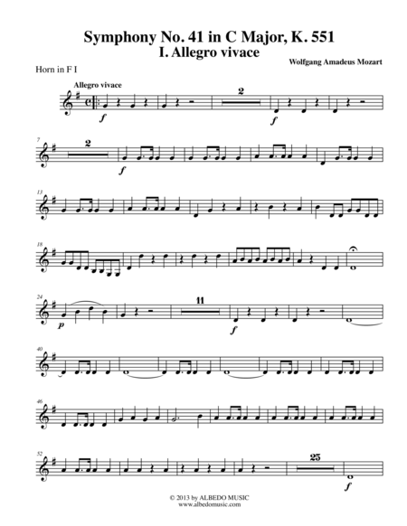 Mozart Symphony No. 41, Jupiter, Movement I - Horn in F 1 (Transposed Part), K. 551