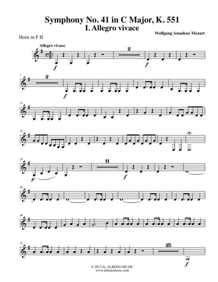 Mozart Symphony No. 41, Jupiter, Movement I - Horn in F 2 (Transposed Part), K. 551