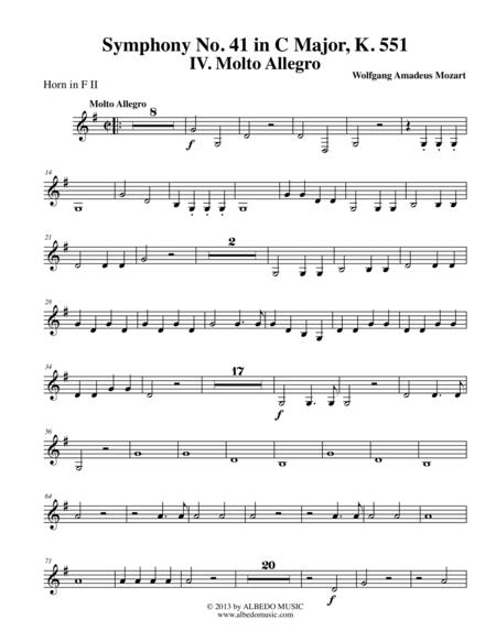 Mozart Symphony No. 41, Jupiter, Movement IV - Horn in F 2 (Transposed Part), K. 551