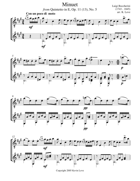 Minuet (Guitar Duo) - Score and Parts