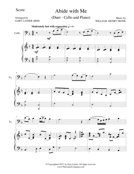 ABIDE WITH ME (Duet – Cello and Piano/Score and Parts)
