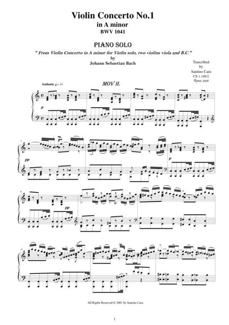 JS Bach Violin Concerto BWV 1041-2_Andante-Piano solo
