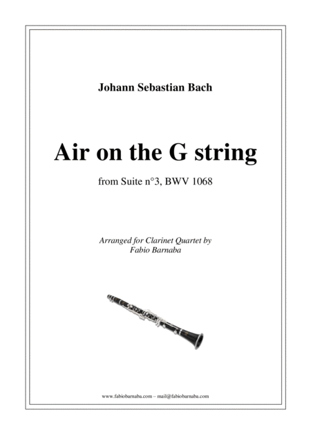 Air on the G string - for Clarinet Quartet or Clarinet Choir