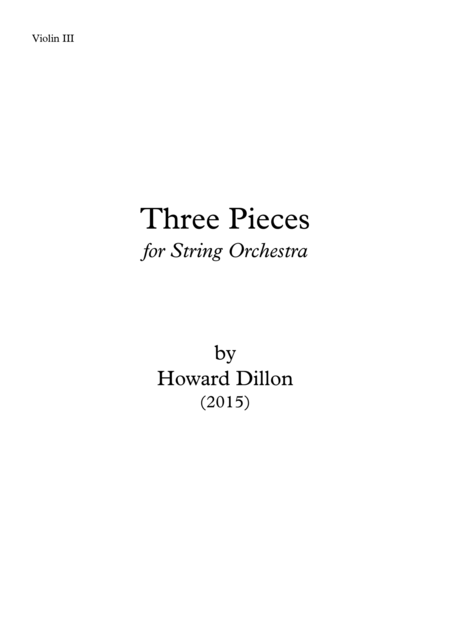 Three Pieces for String Orchestra Violin III