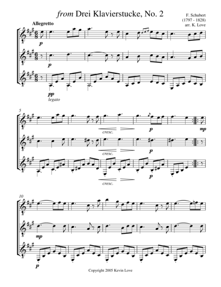 from Drei Klavierstucke, No. 2 (Guitar Trio) - Score and Parts
