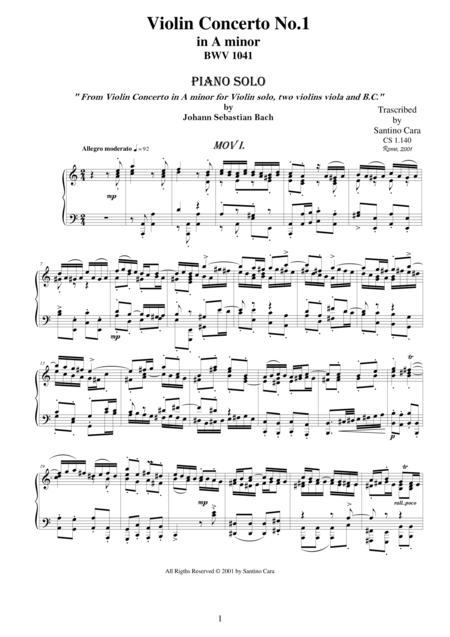JS Bach Violin Concerto BWV 1041 - Complete piano version
