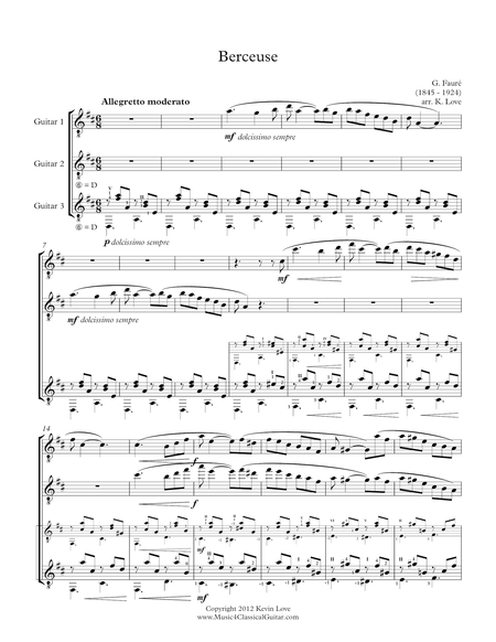 Berceuse (Guitar Trio) - Score and Parts