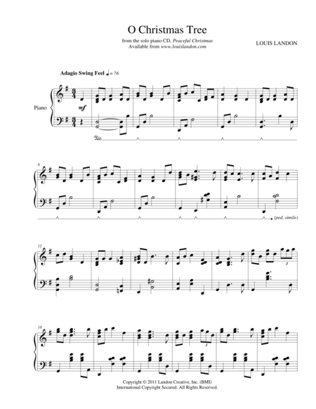 O Christmas Tree - Traditional Christmas - Louis Landon - Solo Piano