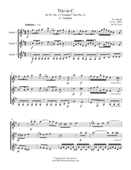 Trio in C, H. IV, No. 1 - ii - Andante (Guitar Trio) - Score and Parts