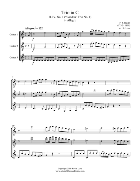 Trio in C, H. IV, No. 1 - i - Allegro (Guitar Trio) - Score and Parts