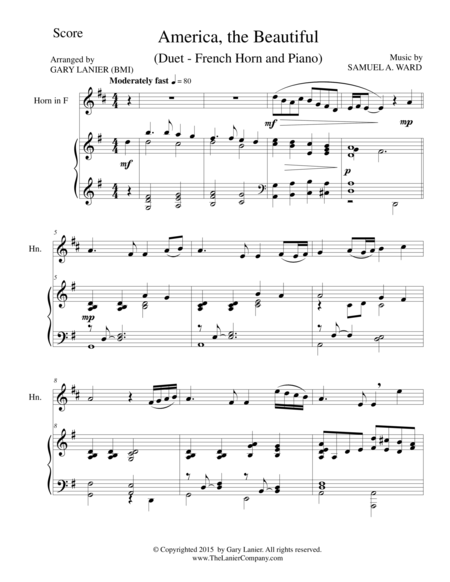 AMERICA, THE BEAUTIFUL (Duet – French Horn and Piano/Score and Parts)