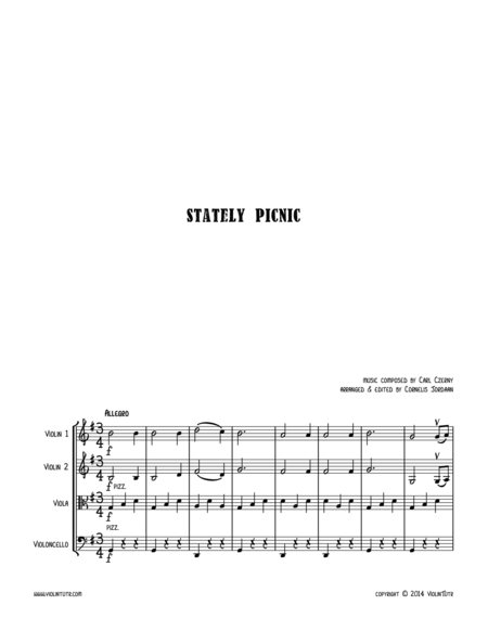 C. CZERNY : Stately Picnic, an easy string quartet
