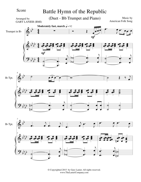 BATTLE HYMN OF THE REPUBLIC (Duet – Bb Trumpet and Piano/Score and Parts)