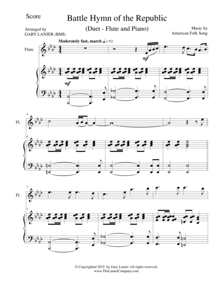 BATTLE HYMN OF THE REPUBLIC (Duet – Flute and Piano/Score and Parts)