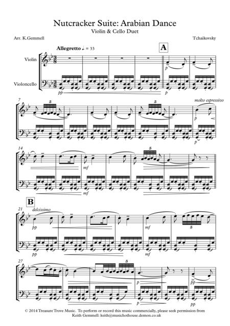 Nutcracker Suite - Arabian Dance: Violin and Cello Duet Duet