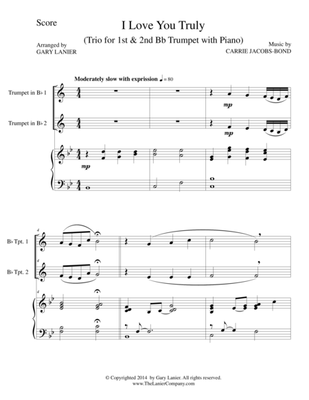 I LOVE YOU TRULY (Trio – Bb Trumpet 1, Bb Trumpet 2, and Piano with Score and Parts)