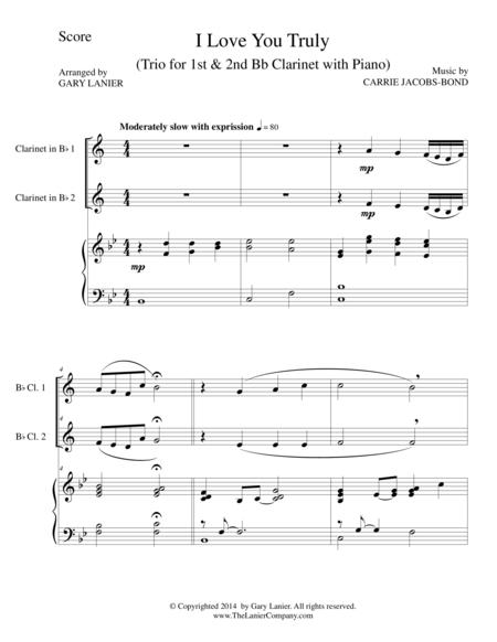 I LOVE YOU TRULY (Trio – Bb Clarinet 1, Bb Clarinet 2, and Piano with Score and Parts)