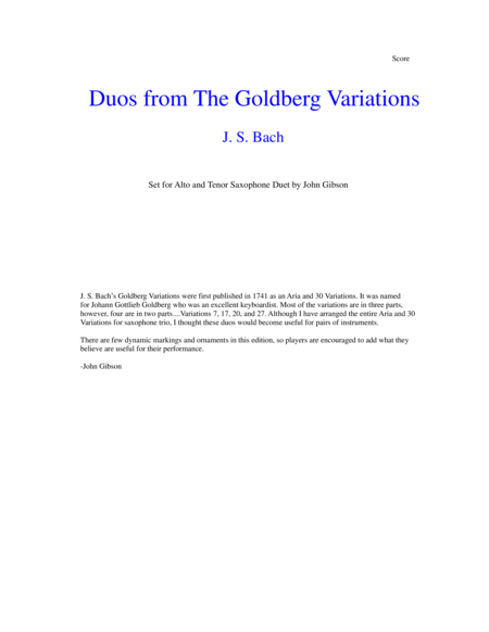J. S. Bach Duos from The Goldberg Variations set for Alto and Tenor Saxophone