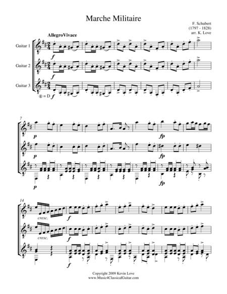 Marche Militaire (Guitar Trio) - Score and Parts