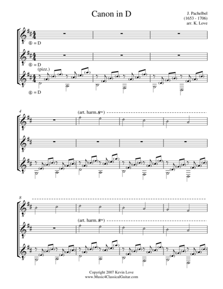 Canon in D (Guitar Trio) - Score and Parts
