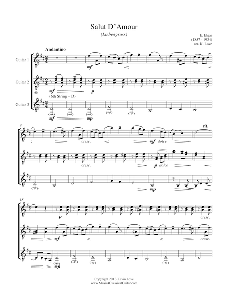 Salut D'Amour (Guitar Trio) - Score and Parts