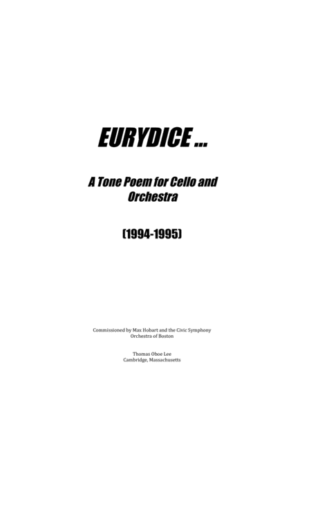 Eurydice ... a tone poem for cello and orchestra (1995)