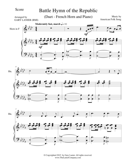 BATTLE HYMN OF THE REPUBLIC (Duet – French Horn and Piano/Score and Parts)