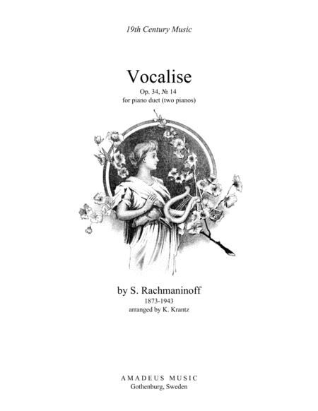 Vocalise Op. 34 for piano duet (2 pianos)
