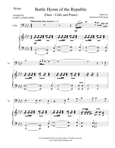 BATTLE HYMN OF THE REPUBLIC (Duet – Cello and Piano/Score and Parts)