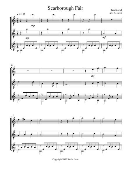 Scarborough Fair (Guitar Trio) - Score and Parts