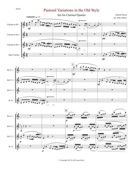 Pierne Pastoral Variations in the Old Style set for clarinet quartet