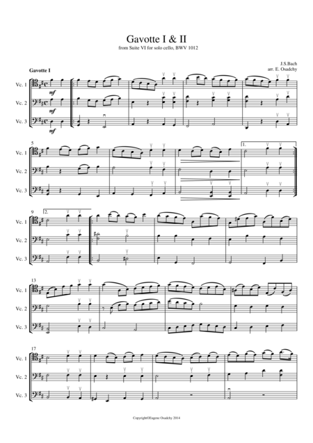 Gavotte I & II from Suite no. 6 for Cello Solo, transcribed for 3 Cellos