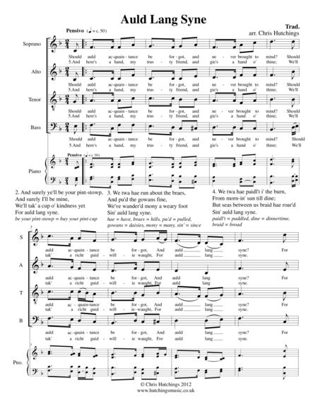 Auld Lang Syne - for SATB choir